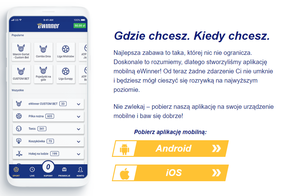ewinner aplikacja mobilna