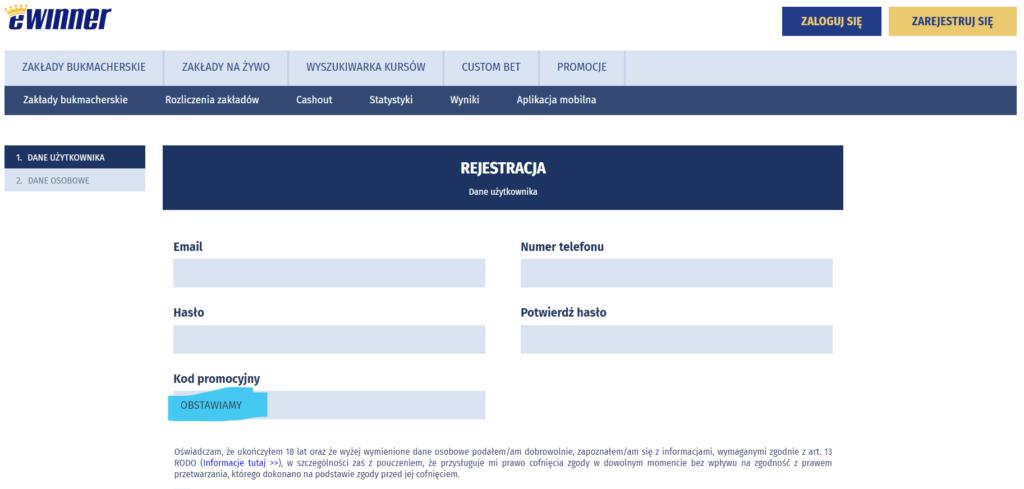 eWinner kod promocyjny rejestracja