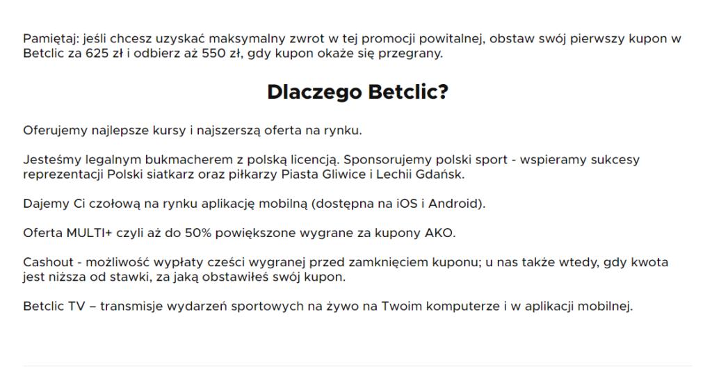 betclic bonus regulamin