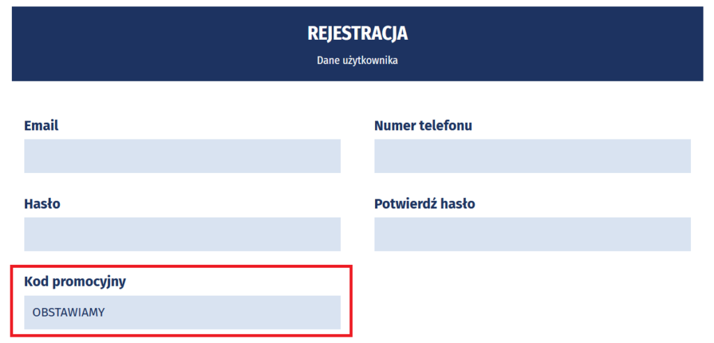 Rejestracja w eWinner z kodem promocyjnym