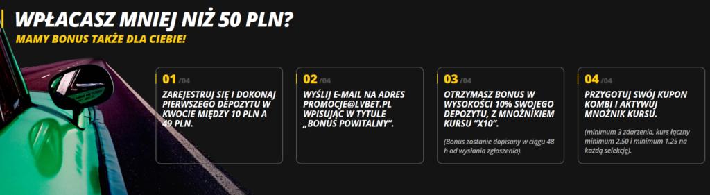 Bonus w LVBET dla wpłat poniżej 50 PLN